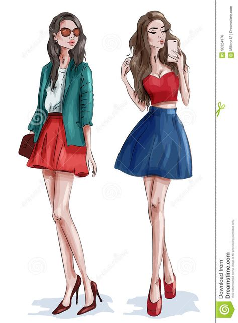 Two Stylish Beautiful Girls With Accessories