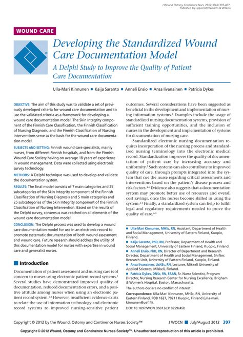 (PDF) Developing the Standardized Wound Care Documentation