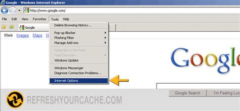 Refresh your cache for Internet Explorer 7