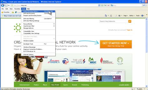 Clear Your Cache in Internet Explorer 8   Ning Help Center
