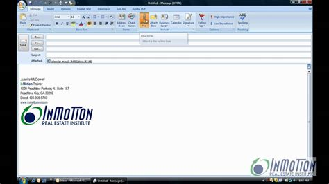 Insert a File into the body of an email - YouTube