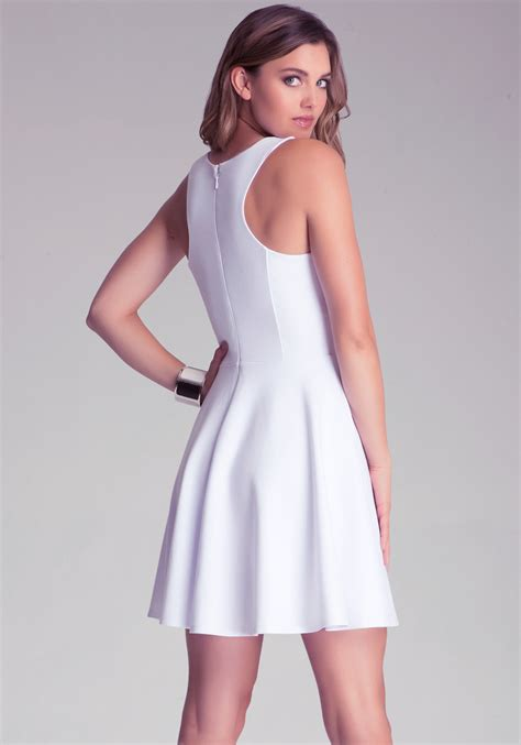 Bebe Fit N Flare Pont Dress in White | Lyst