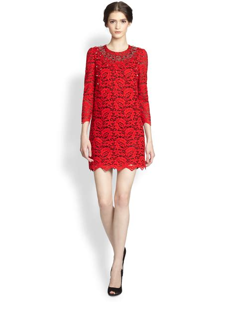 Lyst - Dolce & Gabbana Embellished Lace Dress in Red