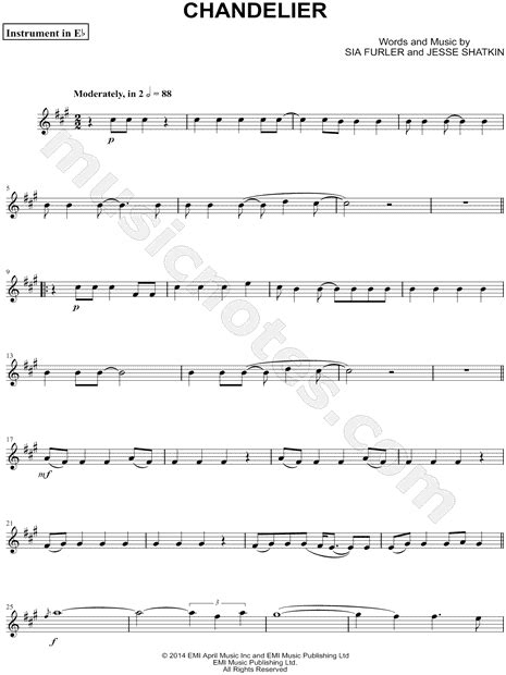 """Sia """"Chandelier - Eb Instrument"""" Sheet Music (Alto or"""