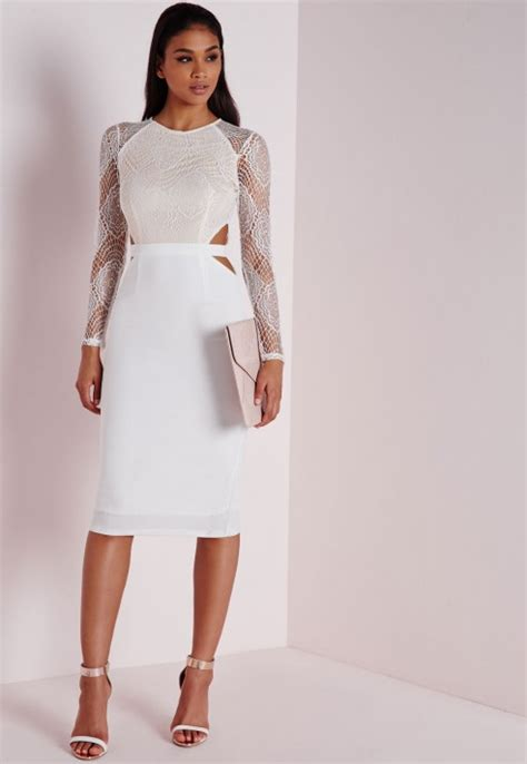Missguided Lace Long Sleeve Cut Out Midi Dress White - Lyst